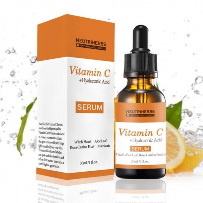 Neutriherbs - Serum cu Acid Hialuronic si Vitamina C 100% Natural